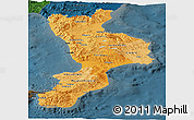 Political Shades Panoramic Map of Calabria, darken