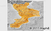 Political Shades Panoramic Map of Calabria, desaturated