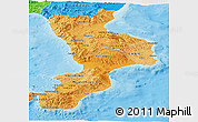 Political Shades Panoramic Map of Calabria