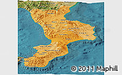 Political Shades Panoramic Map of Calabria, satellite outside