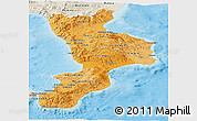 Political Shades Panoramic Map of Calabria, shaded relief outside