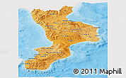 Political Shades Panoramic Map of Calabria, single color outside