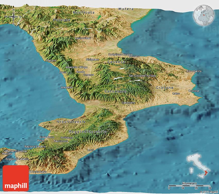 Satellite Panoramic Map of Calabria
