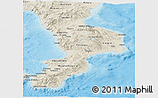 Shaded Relief Panoramic Map of Calabria