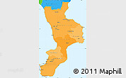 Political Shades Simple Map of Calabria