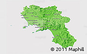 Political Shades 3D Map of Campania, cropped outside