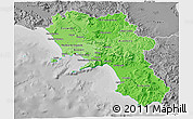 Political Shades 3D Map of Campania, desaturated