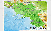 Political Shades 3D Map of Campania, physical outside