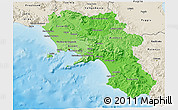 Political Shades 3D Map of Campania, shaded relief outside