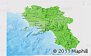 Political Shades 3D Map of Campania, single color outside