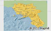 Savanna Style 3D Map of Campania, single color outside