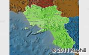 Political Shades Map of Campania, darken