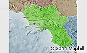 Political Shades Map of Campania, semi-desaturated