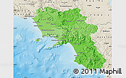 Political Shades Map of Campania, shaded relief outside
