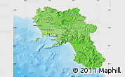 Political Shades Map of Campania, single color outside