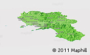 Political Shades Panoramic Map of Campania, cropped outside