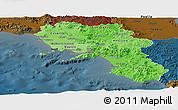 Political Shades Panoramic Map of Campania, darken