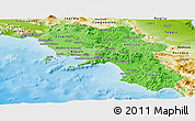 Political Shades Panoramic Map of Campania, physical outside