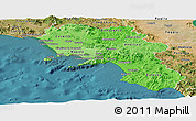 Political Shades Panoramic Map of Campania, satellite outside