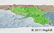 Political Shades Panoramic Map of Campania, semi-desaturated