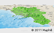 Political Shades Panoramic Map of Campania, shaded relief outside
