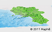 Political Shades Panoramic Map of Campania, single color outside