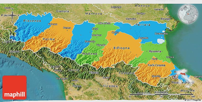 Political 3D Map of EmiliaRomagna satellite outside