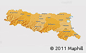 Political Shades 3D Map of Emilia-Romagna, cropped outside