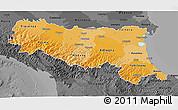 Political Shades 3D Map of Emilia-Romagna, darken, desaturated