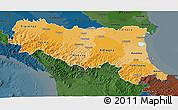 Political Shades 3D Map of Emilia-Romagna, darken
