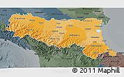 Political Shades 3D Map of Emilia-Romagna, darken, semi-desaturated