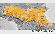 Political Shades 3D Map of Emilia-Romagna, desaturated