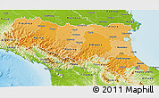 Political Shades 3D Map of Emilia-Romagna, physical outside