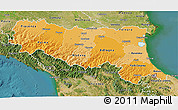 Political Shades 3D Map of Emilia-Romagna, satellite outside