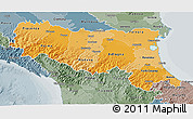 Political Shades 3D Map of Emilia-Romagna, semi-desaturated