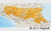 Political Shades 3D Map of Emilia-Romagna, shaded relief outside