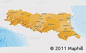 Political Shades 3D Map of Emilia-Romagna, single color outside