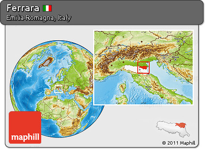 Free Physical Location Map Of Ferrara Highlighted Parent Region - Ferrara map