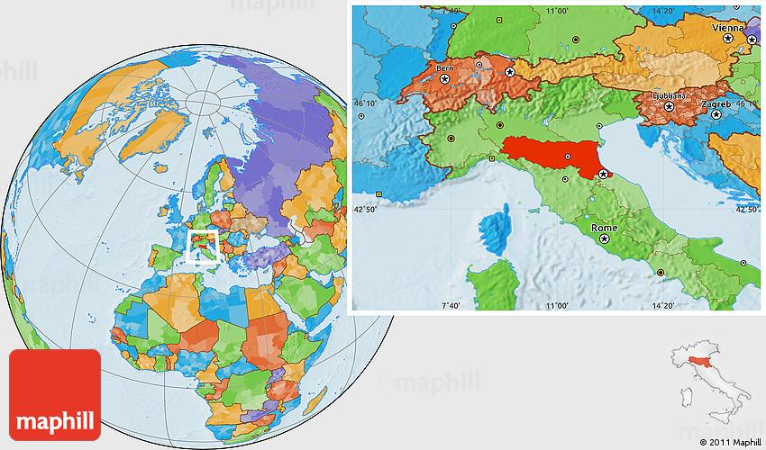 Political Location Map of EmiliaRomagna