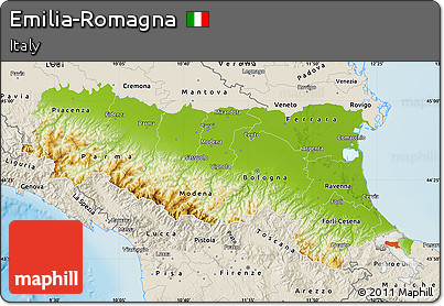 Free Physical Map of EmiliaRomagna shaded relief outside