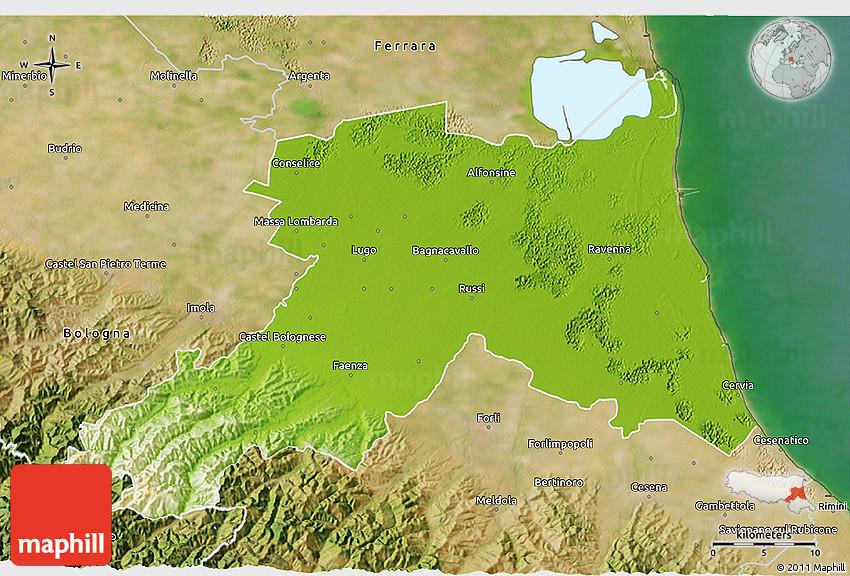 Physical 3D Map of Ravenna satellite outside