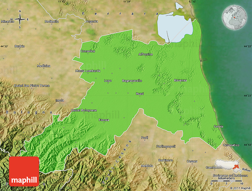 Political Map of Ravenna satellite outside Cesena