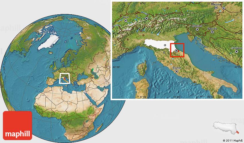 Satellite Location Map of Rimini highlighted parent region