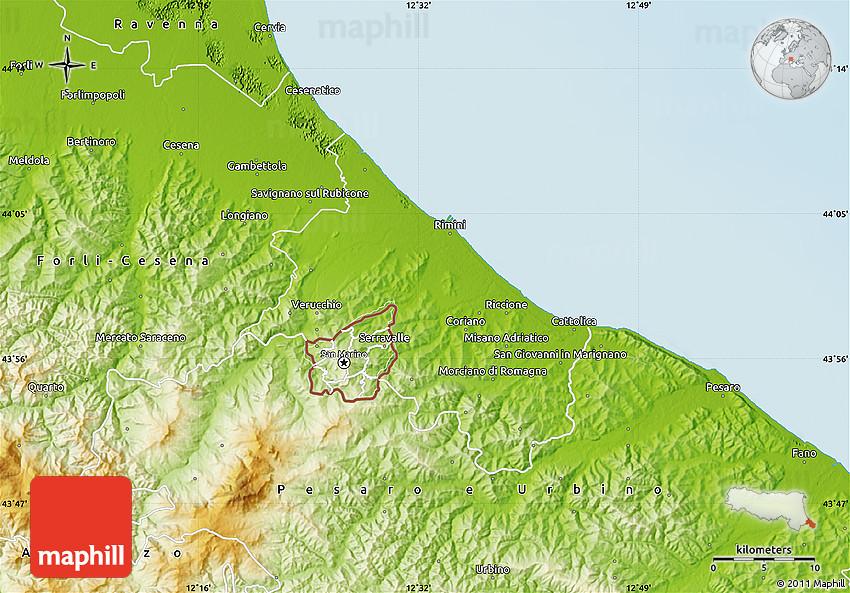 Physical Map Of Rimini