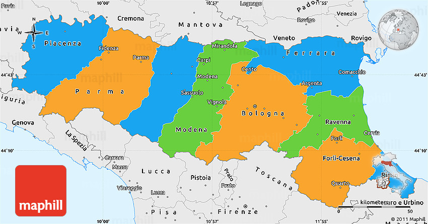 Political Simple Map of EmiliaRomagna single color outside
