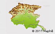Physical 3D Map of Friuli-Venezia Giulia, cropped outside