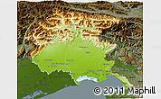 Physical 3D Map of Friuli-Venezia Giulia, darken