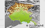 Physical 3D Map of Friuli-Venezia Giulia, desaturated
