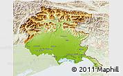 Physical 3D Map of Friuli-Venezia Giulia, lighten