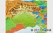 Physical 3D Map of Friuli-Venezia Giulia, political outside